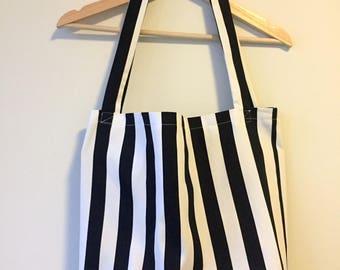 Tote Shopping Bag - Black and White Stripe 100% Cotton