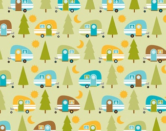 "By The HALF YARD - Happy Camper by Doodlebug Designs for Riley Blake, #4734 GREEN, Brown, Aqua Blue, Lime, Yellow 1"" Campers and Green Trees"