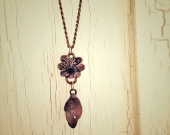 Boho flower necklace, electroformed, floral jewelry, nature jewellery, hippie necklace, gypsy, cherry blossom