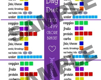 21 Day Portion Control Diet Plan Printables: 1200-1499 Calorie Container Tracking Sheets!