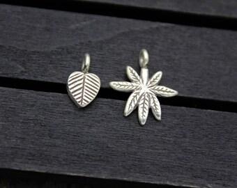 2 Karen Hill Tribe Sterling Silver Leaf Charm Pendant