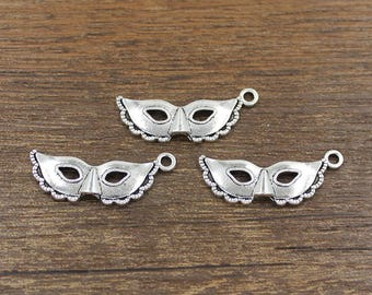 20pcs Mask Charm Antique Silver Tone 13x30mm - SH456