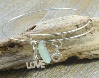Sea Glass Bracelet,  Sea Glass Jewellery, Sterling Silver Bracelet, Charm Bangle, Sea Glass Charms, Dainty Bracelet, Sterling Silver Bangle