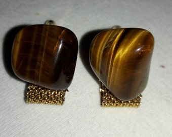 Tiger Eye Free Form Mesh Vintage Cuff Links