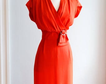"""1940's Red Cocktail dress by Franklin/ Waist 30"""""""