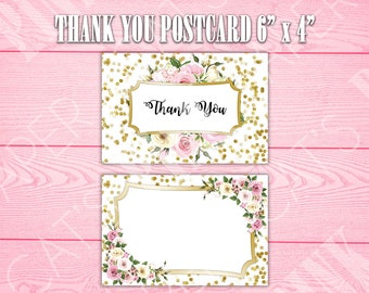 Gold Confetti Floral | Thank You Postcard | Customize