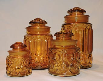 L. E. Smith Moon and Stars Canisters - SET OF 4 - Harvest Gold Glass