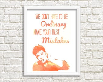 Shawn Mendes Watercolor Printable Art with Life Of The Party quote -INSTANT DOWNLOAD