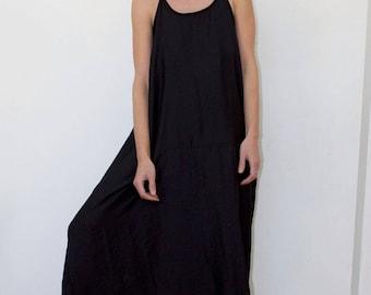Black dress Women's dress Women's black dress Oversized dress High low hem Summer dress Black summer dress Black tunic Maxi dress