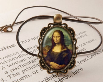 Mona Lisa Pendant Necklace - Leonardo da Vinci Necklace, Renaissance Jewelry, La Gioconda Pendant,  Mona Lisa Smile Necklace, Art Jewellery