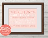 Personalised Word Art Word Cloud 50th Birthday Poster DOWNLOAD Unique gift Special 50th Birthday BD502