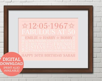 Personalised Word Art, Word Cloud, 50th Birthday, Poster, DOWNLOAD, Unique gift, Special 50th Birthday, BD502