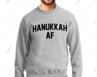 "Unisex - Men/Women - Premium Retail Fit ""Hanukkah AF"" Crewneck Sweatshirt"