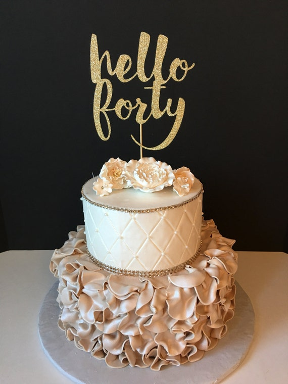 any number gold glitter hello 40 cake by sugarplumcreationsco