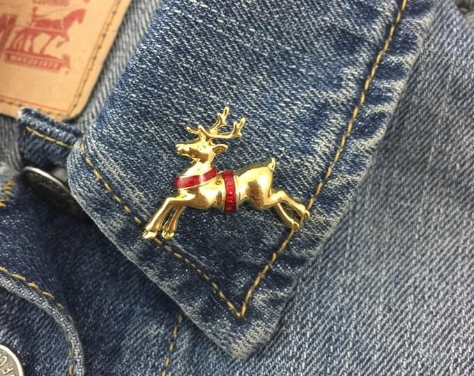 vintage reindeer golden lapel pin brooch christmas (stock# 356) christmas, holidays, winter, santa, rudolf, hat pin, flair