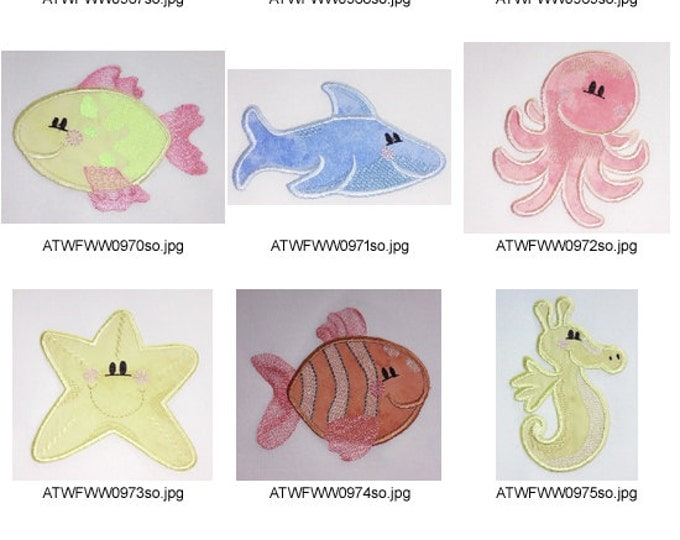 Sea-Cuties-Applique. ( 10 Machine Embroidery Designs from ATW )