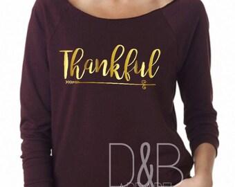 Thankful Scoop Neck raw-edge Sweatshirt sweater. lightweight. Womans thanksgiving shirt. turkey day shirt. Funny Thanksgiving Shirt.