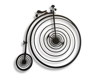 Large metal wall art, Wall sculpture of a Penny-farthing bicycle , Unique atmosphere Item
