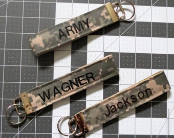 ARMY Personalized Embroidered US Army Key Chain Key Fob