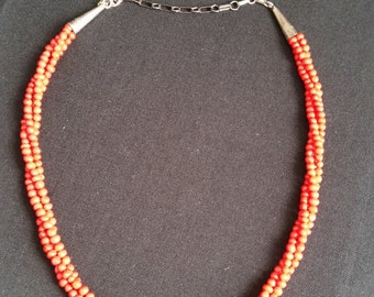 Red Coral Three Strand Necklace Running Bear Vintage