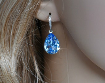 Handmade Swarovski Lt. Sapphire Blue Pear Crystal Dangle Earrings, Bridal, Wedding (Sparkle-2571)
