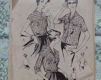 1950s Three Way Blouse Vintage Sewing Pattern, Simple No Collar 50s Top Pattern, Rockabilly Blouse Pattern, no 2750, 36in Bust
