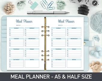Weekly Menu Planner A5 Meal Planner Printable, Menu Planner, Meal Planner Half Size, Food Planner, Printable Meal Planner