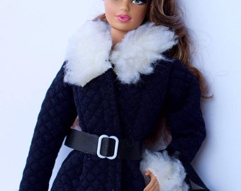 Barbie clothes - Barbie winter coat with fur collar, Barbie bag