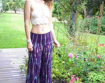 Tie Dyed Elephant Pants - Comfortable, Stretchy Waist, Lightweight - Handmade and Hand Tie Dyed