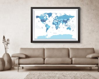 World Map, Travel, World, Map with time zone, Printable Map, World Map Wall Art, World Map Art, Travel Print, Printable World Map, Globe,WM2