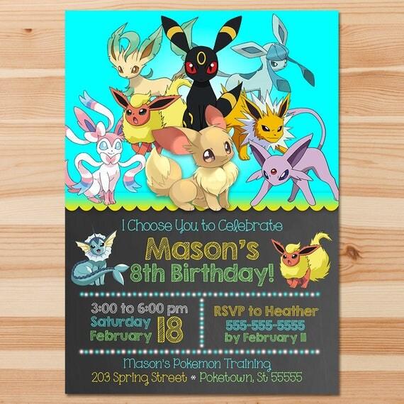 Pokemon Birthday Invite - Eevee Evolutions - Blue Chalkboard - Boy Pokemon Eevee Invitation - Pokemon Party - Pokemon Printables - Eevee