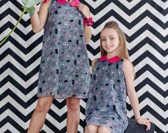 Girl Gray Dress, Disney Princess Dress, Elegant Girl Dress, Birthday Party Dress, Sleeveless Dress, Boho Girl Dress, Peter Pan Collar