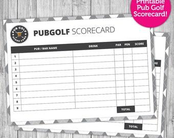 Pub golf scorecard custom printable night out pub golf scorecard instant download easy print black white night pronofoot35fo Images
