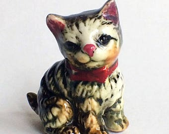 Pink Nosed, Tabby Cat Figurine with Red Bow Collar, Japan