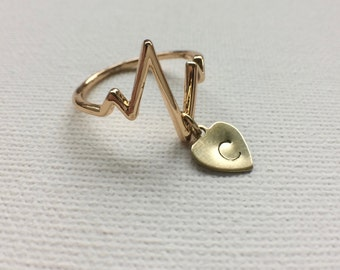 Heartbeat Ring, ZigZag Ring, EKG Ring, Pulse Ring, Personalized Ring, Nurse Jewelry, Doctor Jewelry, Love Jewelry, Dr. Jewelry