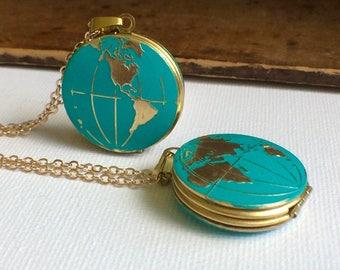 World Map Locket, Globe Locket Necklace, World Necklace, Earth Necklace, Travel Necklace, Map jewelry, World Jewelry, World Locket, Ocean