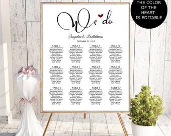 Wedding Seating Chart Template, Seating Chart Printable, Seating Board, Editable Seating Chart, Seating Poster, Seating plan, wedding sign