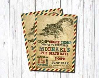 Crocodile Birthday Invitation, Crocodile Invitation,  5th Birthday Invitation, Alligator Invitation, Crocodile Birthday, Chomp, Alligator