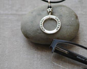 Eyeglass Necklace, Eyeglass Chain, Eyeglass Lanyard, Leather Lanyard, Sunglass Holder, Gift for Mom, Silver Necklace, SightStraps Lanyard