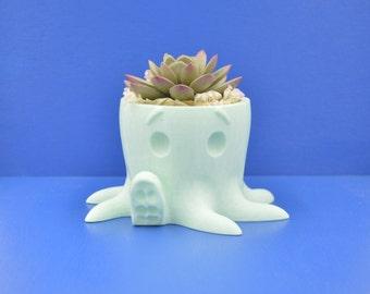 Green Octopus succulent Planter / 3D printed planter /  cactus vase / Planter with vase / eco product / minimal home decor/Mini planter