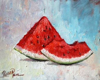 Water Melon, Original Oil Painting by Roger Pan on canvas board, 8x10inch