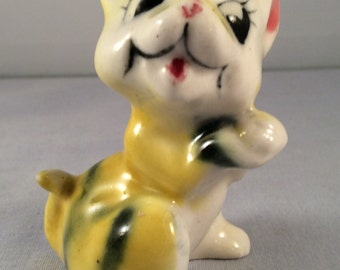 ON SALE:  Vintage Ceramic Yellow Cat with Black Stripes - Baby Tiger - Kitten - Made In Japan