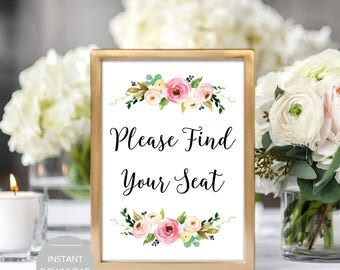 Please Find Your Seat Wedding Sign, Please Find Your Seat Sign, Find Your Seat Sign, Please Find Your Seat Instant Download