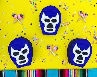 Lucha libre mini pinata, Mexican wrestling mini pinata, Mexican wrestling mask, Fiesta decorations, Mexican party favors, Piñata, SET OF 3