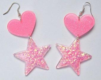 Heart star drop earrings pink sparkles