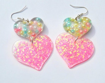 Double heart drop earrings pink glitter