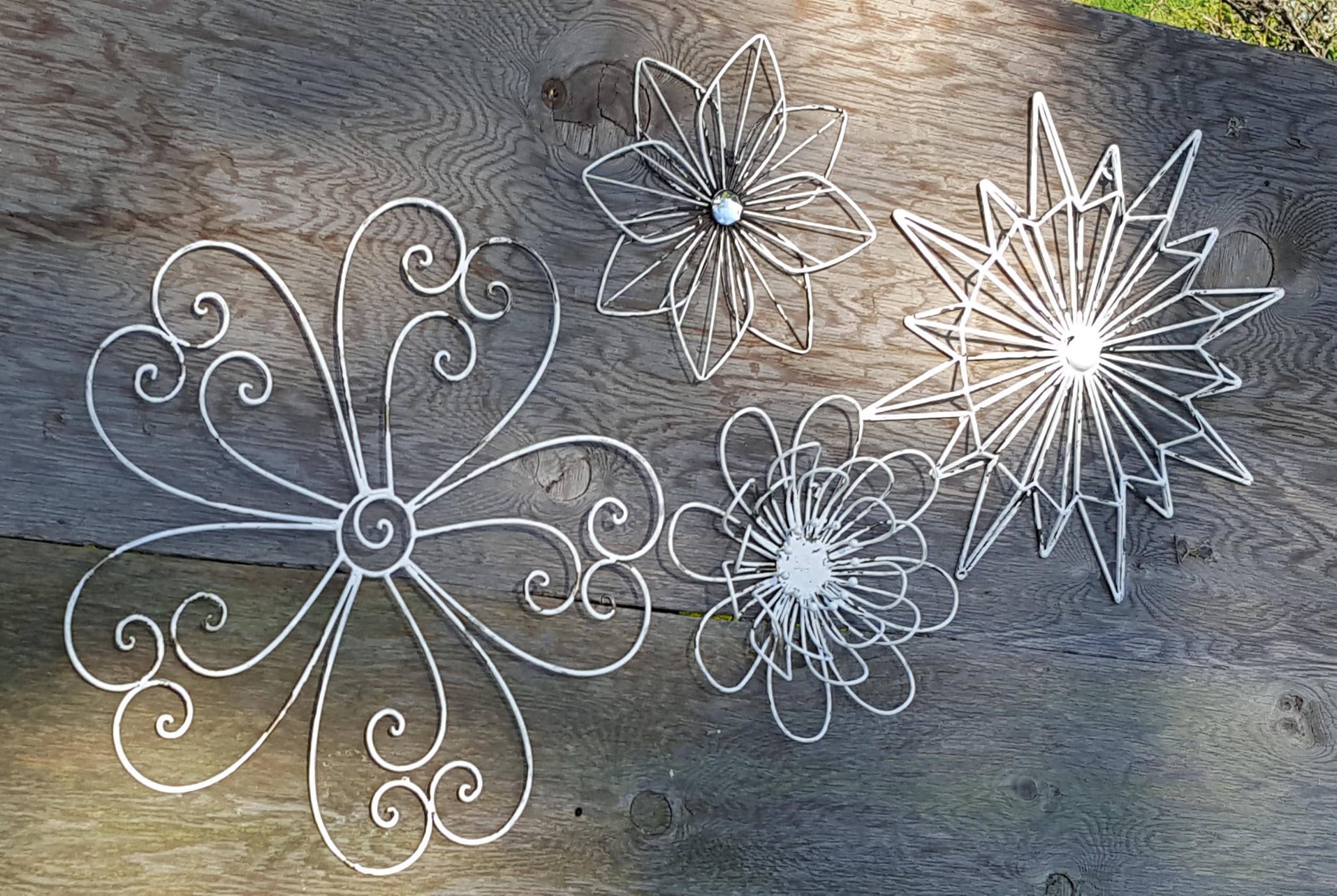 wall art metal wall art flower wall art flower decor flower. Black Bedroom Furniture Sets. Home Design Ideas