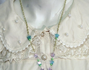 Mint and lavender fairy kei decora paw print necklace