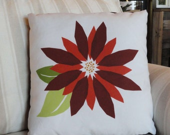 Christmas Holiday Pillow Cover // Poinsettia // Throw Pillow // Holiday Decor // 16 x 16 // Envelope Pillow Cover