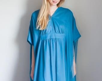 1970s Bohemian Blue Caftan Dress